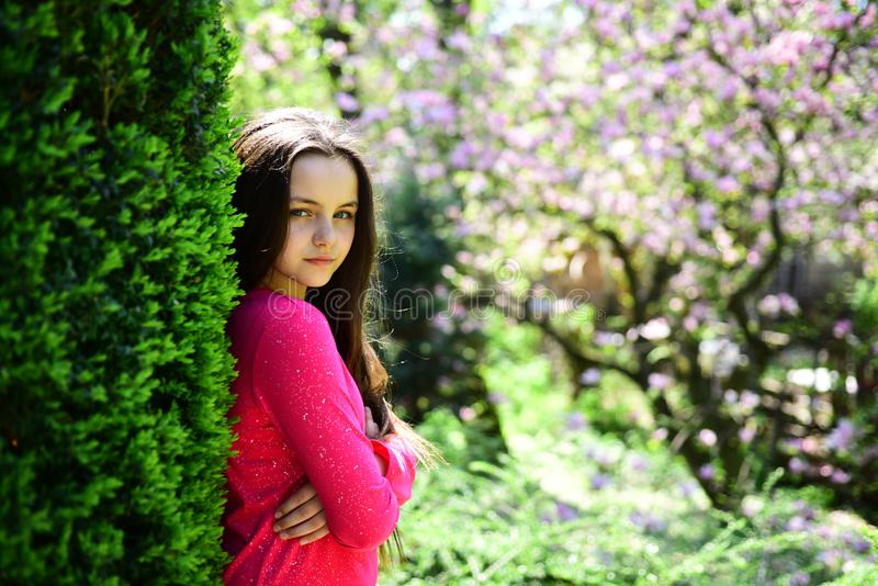 Adorable look. Cute girl on spring landscape. Young lady in spring garden. Pretty girl with young face skin and no. Makeup. Beauty model with fresh look royalty free stock photos