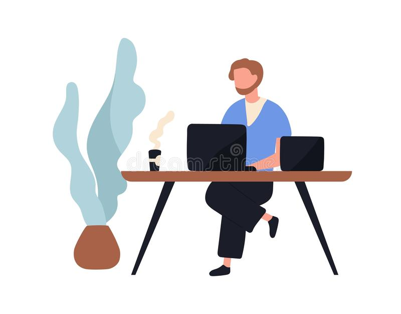Adorable man sitting at desk and working on laptop computer. Cute young male employee, creative freelance worker or. Writer at workplace. Work routine. Flat royalty free illustration