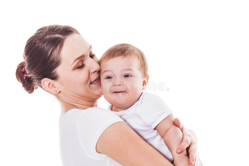 Adorable mother and baby on a white background royalty free stock photography