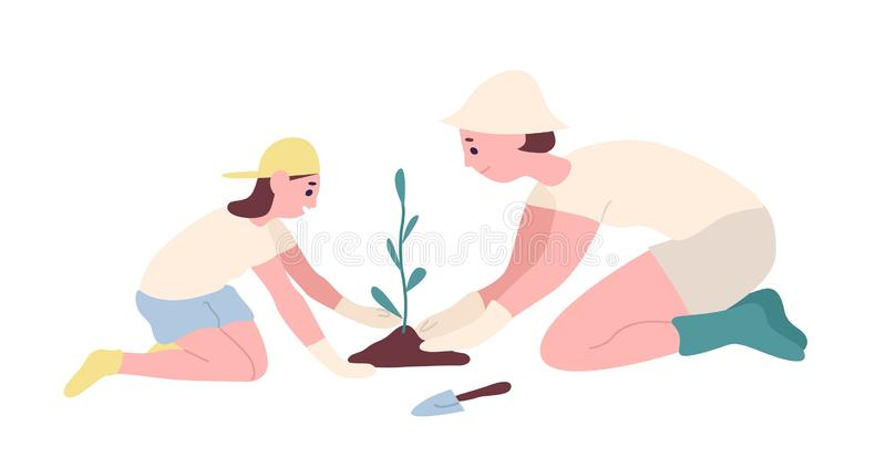 Adorable mother and daughter planting seedling or tree in garden. Happy smiling mom and child cultivating plant outdoors royalty free illustration
