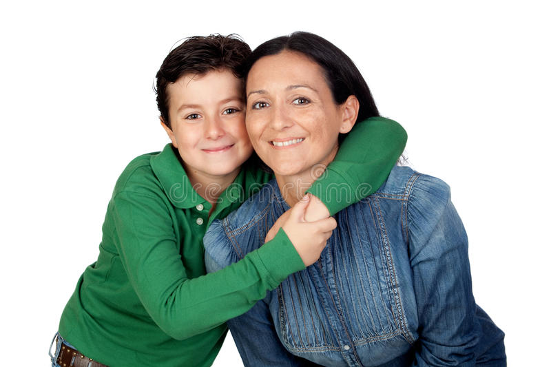 Download Adorable Mother And Her Beautiful Son Stock Photo - Image of expression, denim: 21778622