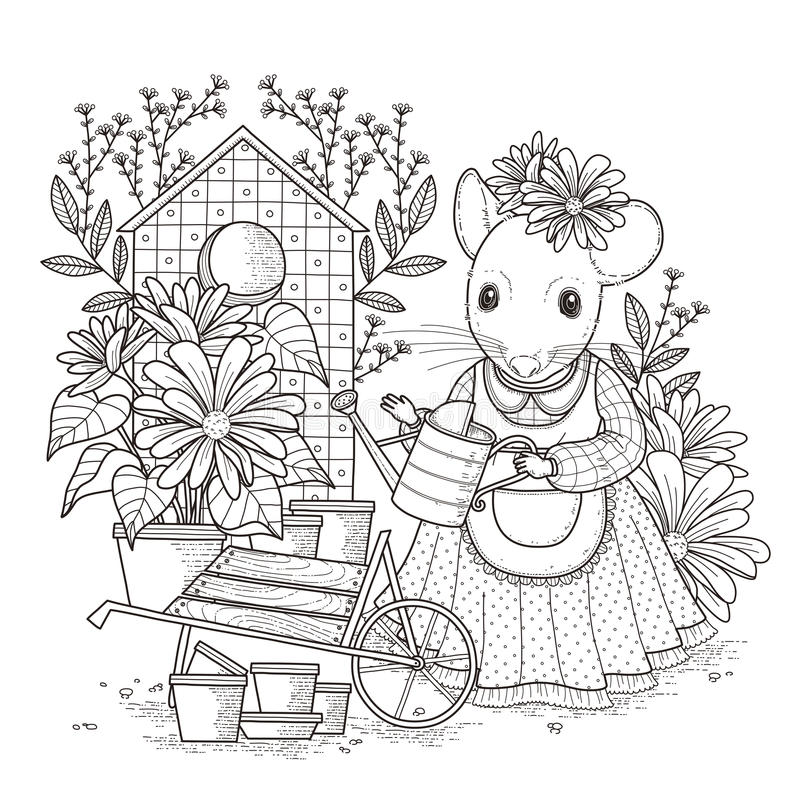 adorable mouse coloring page stock illustration