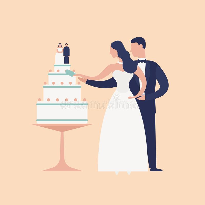 Adorable newlyweds cutting cake with topper isolated on light background. Cute romantic married couple. Bride and groom. At wedding day celebration party stock illustration