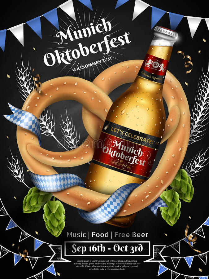 Adorable Oktoberfest ads stock illustration
