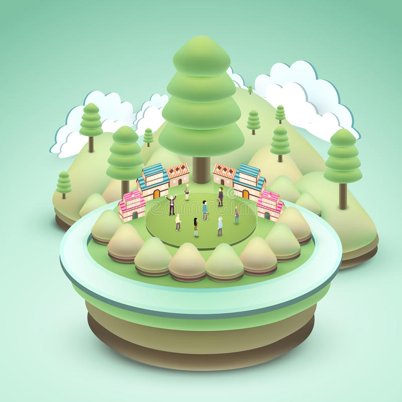 Adorable outdoor scenery royalty free illustration