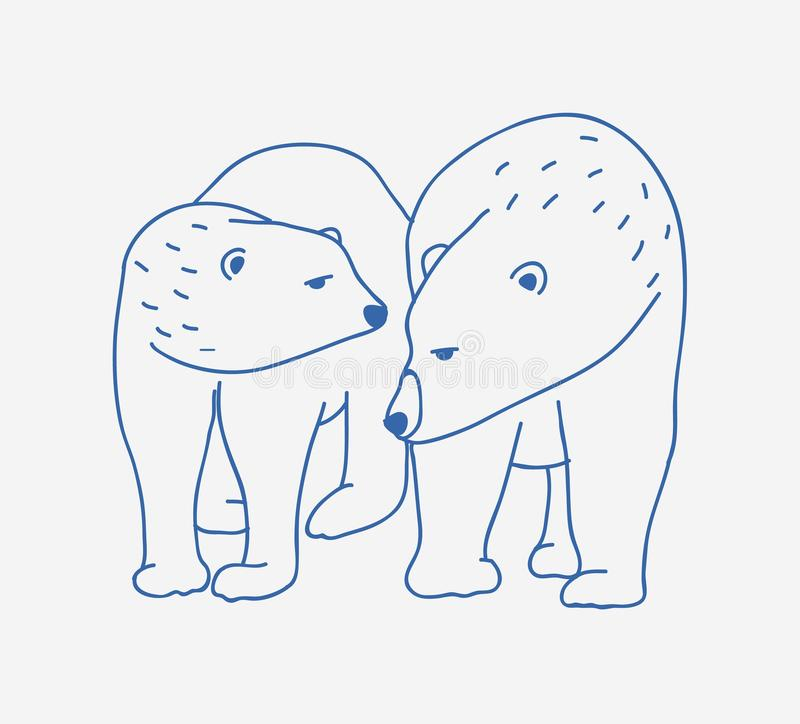 Adorable pair of polar bears hand drawn with contour lines on white background. Doodle drawing of couple of cartoon wild vector illustration