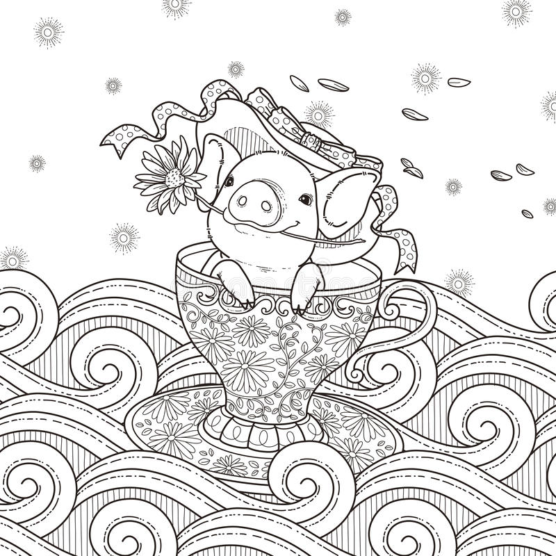download adorable piggy coloring page stock illustration image 58878858
