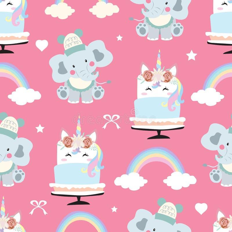 Adorable pink seamless pattern with rainbow,unicorn cake,heart,elephant and ribbon royalty free illustration