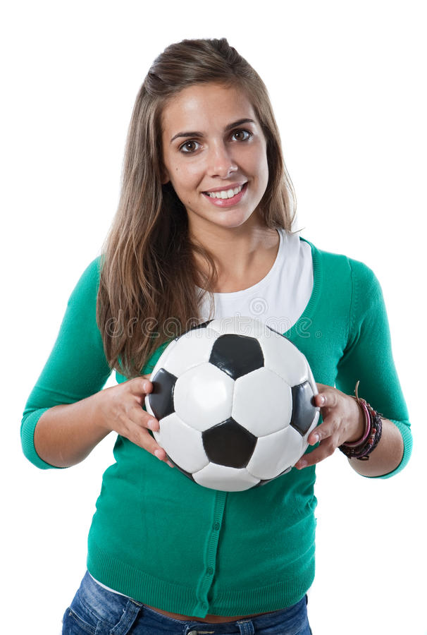 Adorable Pretty Girl With Soccer Ball Royalty Free Stock Photo