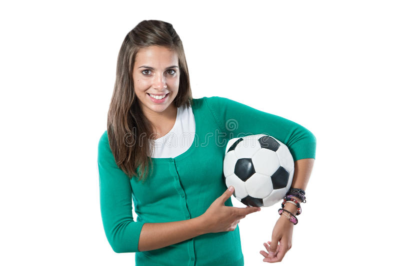 Adorable pretty girl with soccer ball. Isolated on a over white background stock photos