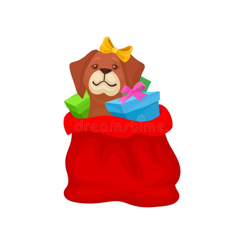 Adorable puppy with bow on head sitting in red bag with Christmas gifts. Winter holidays theme. Flat vector icon vector illustration
