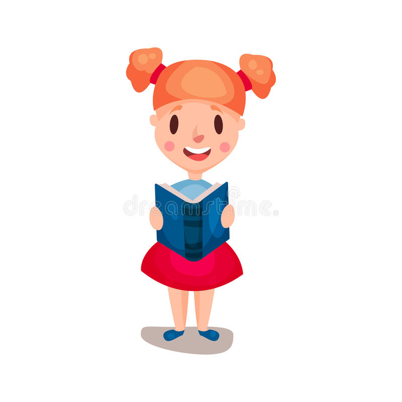 Adorable redhead girl standing and reading a book, education and knowledge concept, colorful character Illustration royalty free illustration