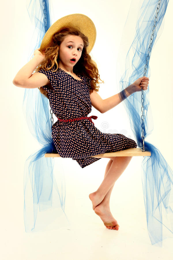 Download Adorable Retro Style Child Portrait Girl On Swing Stock Image - Image: 24583575