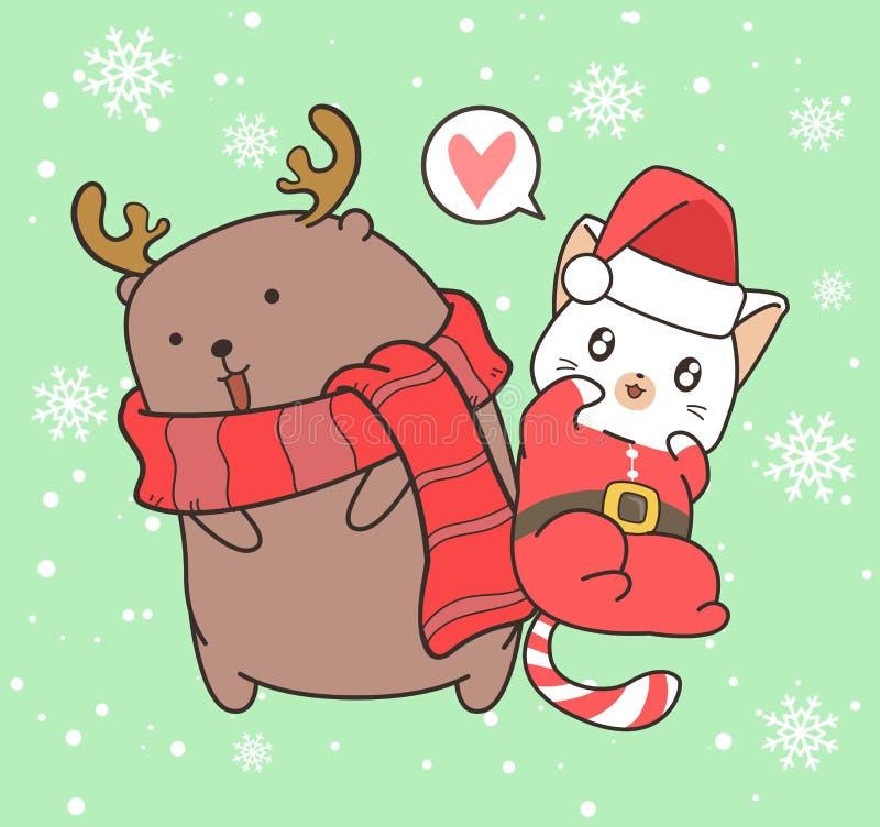 Adorable Santa Katze und Rentiere in Weihnachtsfeiertag lizenzfreie abbildung