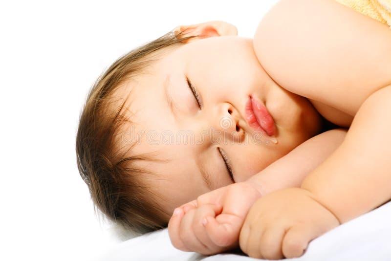 Adorable sleeping baby. royalty free stock image