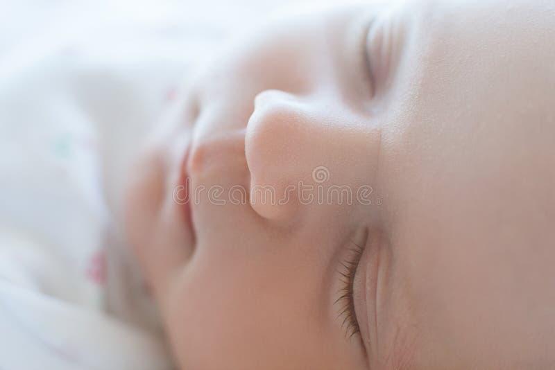 Adorable sleeping newborn child royalty free stock photography