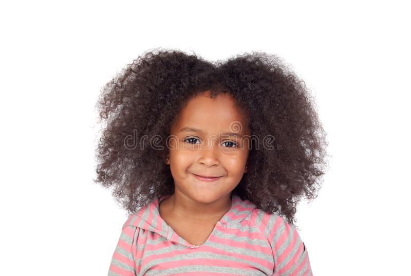 Adorable smal girl with afro hairstyle royalty free stock image