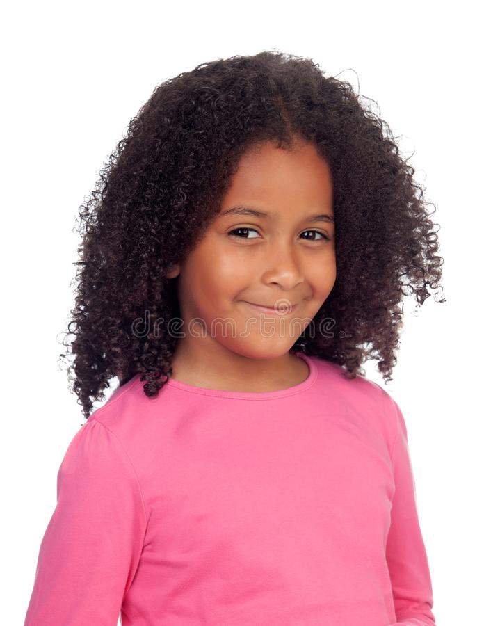 Adorable small girl with afro hairstyle stock images