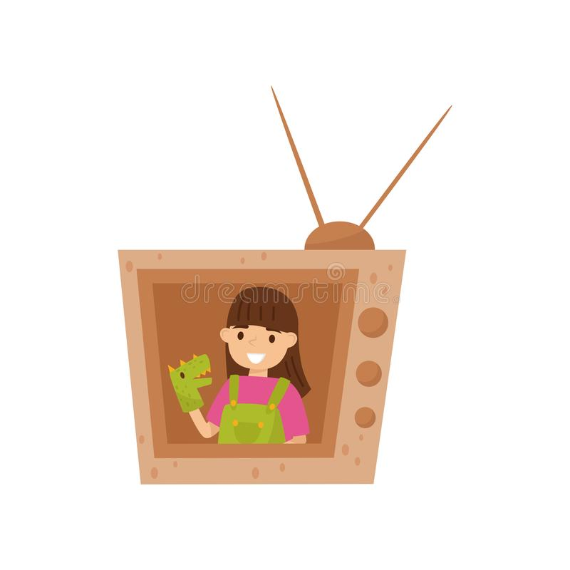 Adorable smiling girl sitting in TV made of cardboard box and playing with toy dragon on hand. Flat vector design vector illustration