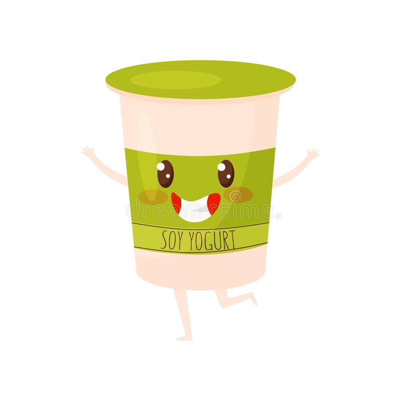 Adorable soy yogurt character. Plastic cup with kawaii face. Fresh product. Vegetarian nutrition. Flat vector design royalty free illustration