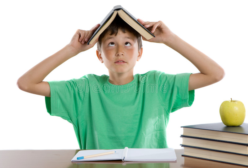 Adorable student boy. On a over white background stock image