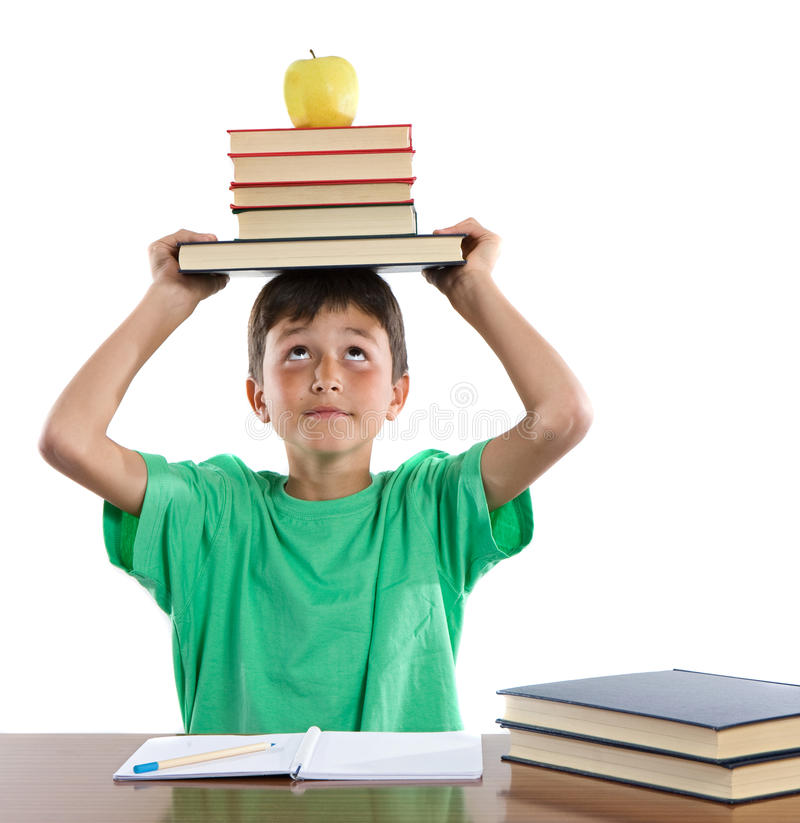 Adorable student boy. On a over white background stock images