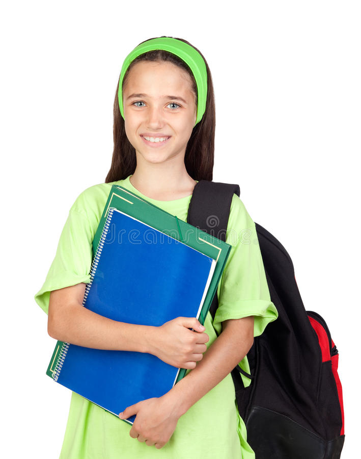 Adorable student girl with blue eyes royalty free stock photography