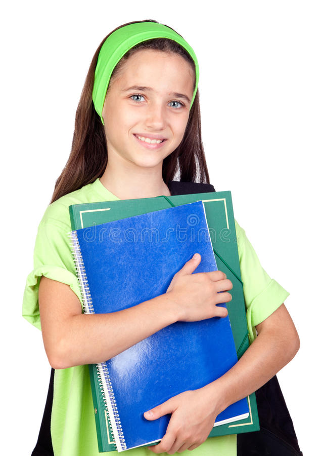 Adorable student girl with blue eyes stock images