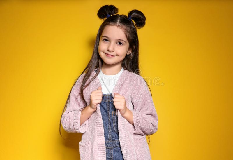 Adorable stylish girl posing on background royalty free stock photos