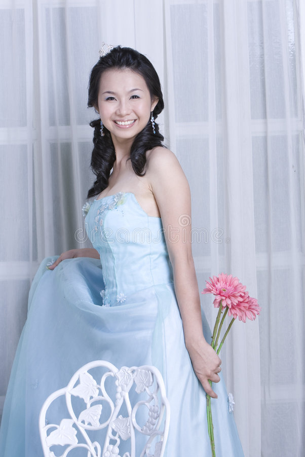 Adorable sweet asian bride royalty free stock photo