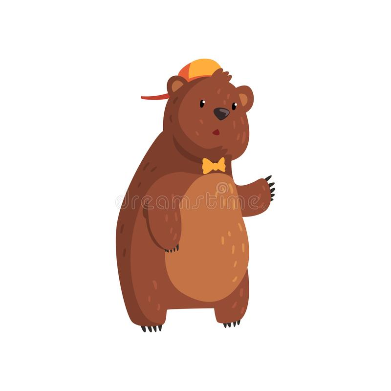 Teen bear standing isolated on white. Cartoon character with brown fur, small rounded ears and paws with claws. Wild vector illustration