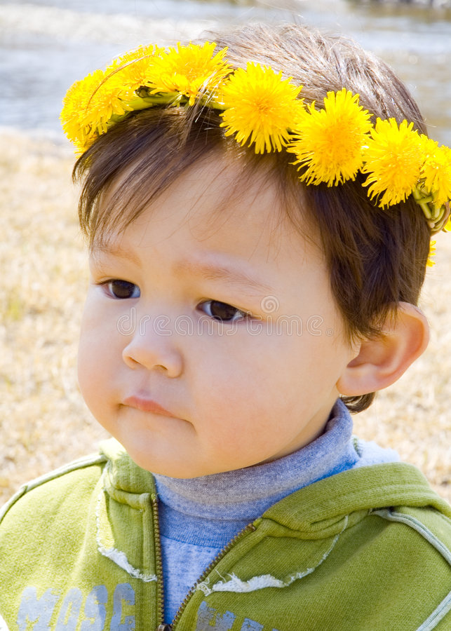 Adorable thinking boy royalty free stock photography