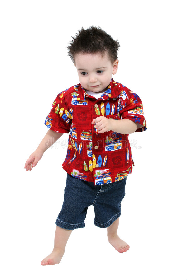 Adorable Toddler Boy In Bright Summer Clothes Barefoot Over Whit stock photo