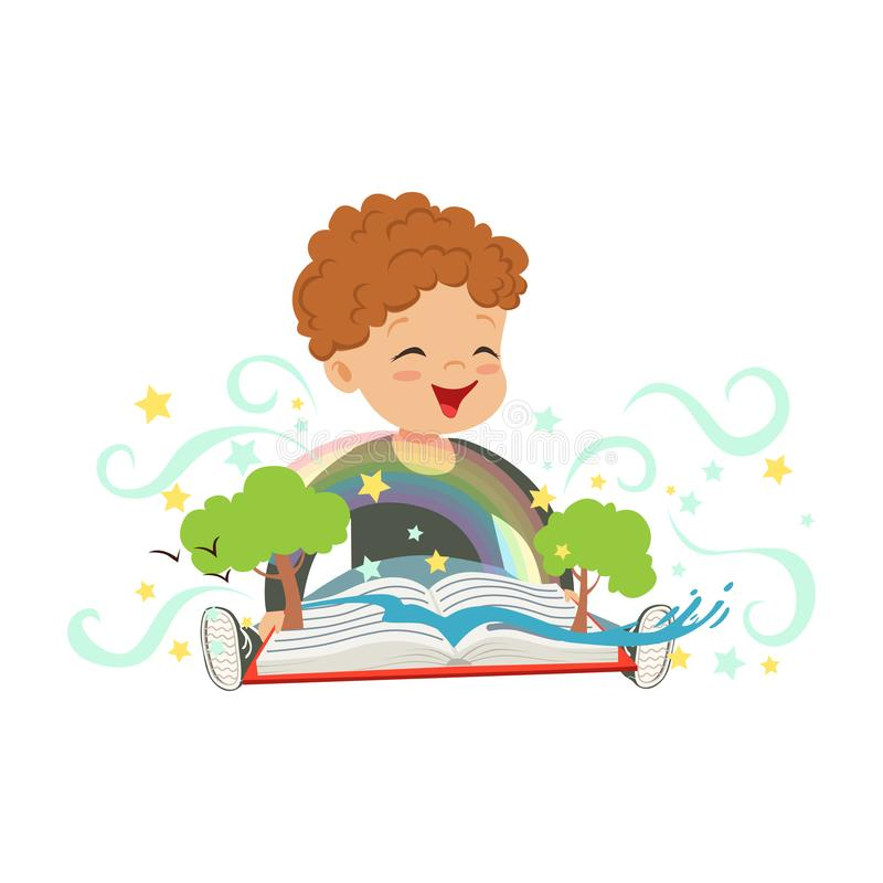 Adorable toddler boy having fun with magic pop-up book. Cheerful kid character with colorful imagination. Fantasy. Concept. Isolated vector illustration stock illustration