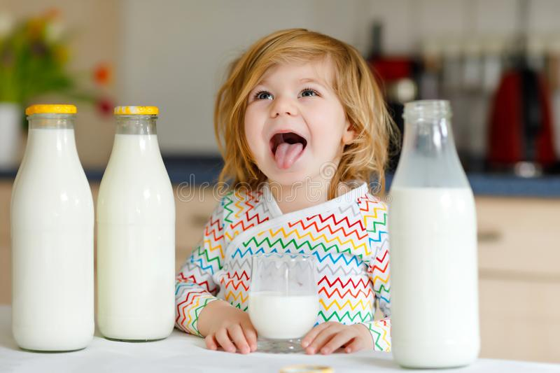 Adorable toddler girl drinking cow milk for breakfast. Cute baby daughter with lots of bottles. Healthy child having stock image