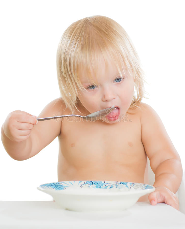 Adorable Toddler Girl Eat Porridge Stock Photography