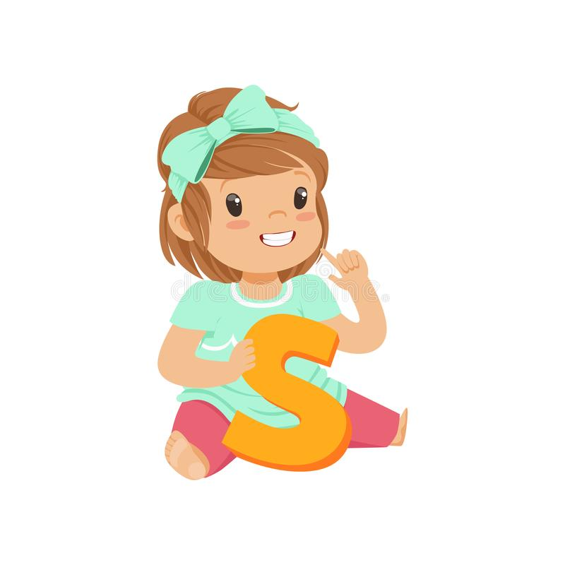 Adorable toddler girl sitting on the floor and learning correctly pronounce letter S. Education and children development. Concept. Playful teaching games vector illustration