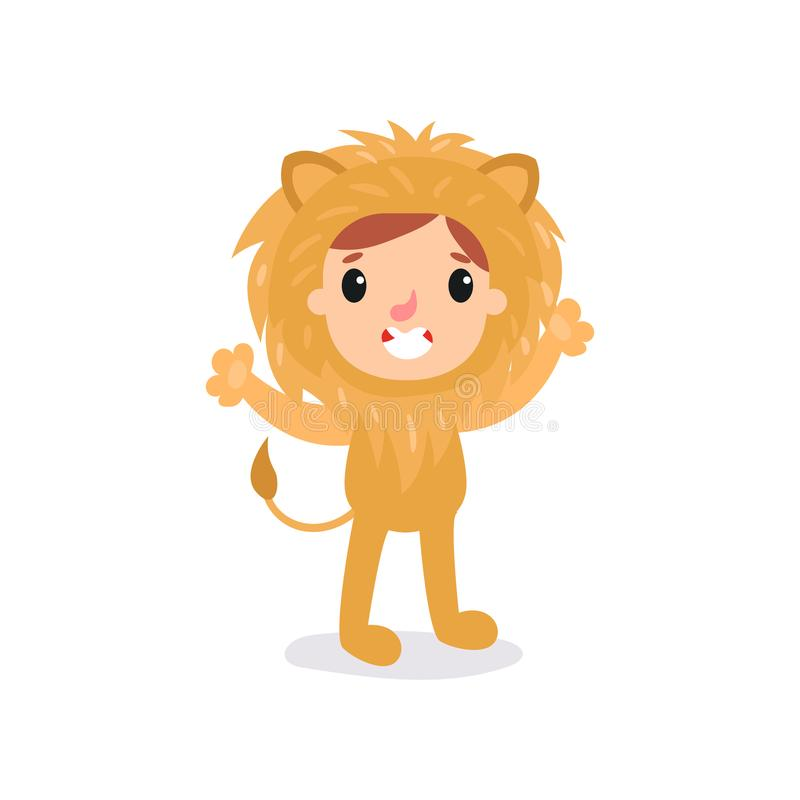 Adorable toddler in lion costume. Little king of jungle standing with hands up. Children animal jumpsuit for Halloween. Party. Isolated flat vector illustration vector illustration