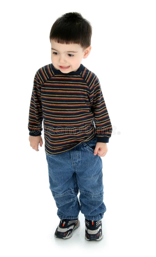 Adorable Toddler in Long Sleeve and Jeans royalty free stock photography