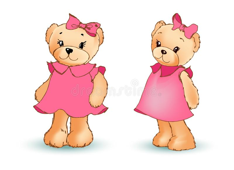 Adorable Toy Bear in Pink Dress with Bow in Head vector illustration