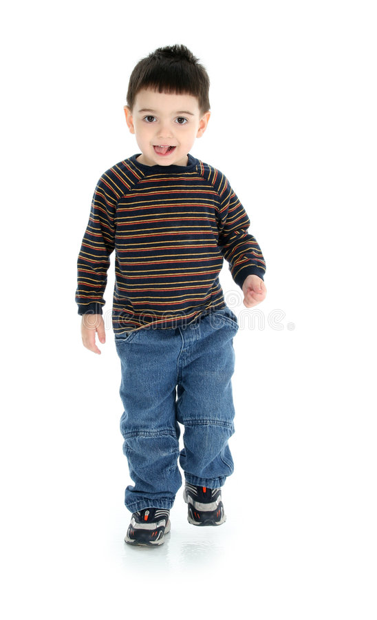 Free Adorable Two Year Old Walking Over White Royalty Free Stock Image - 469226