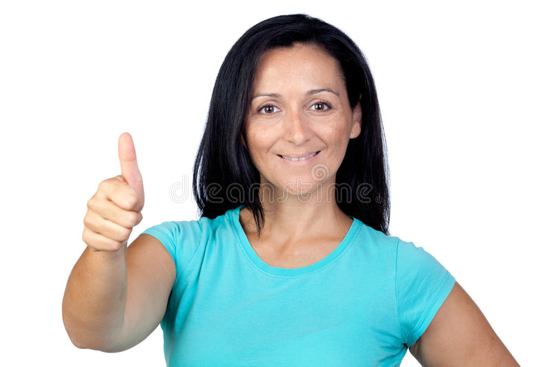 Download Adorable Woman With Blue T-shirt Saying Ok Stock Image - Image: 21533963