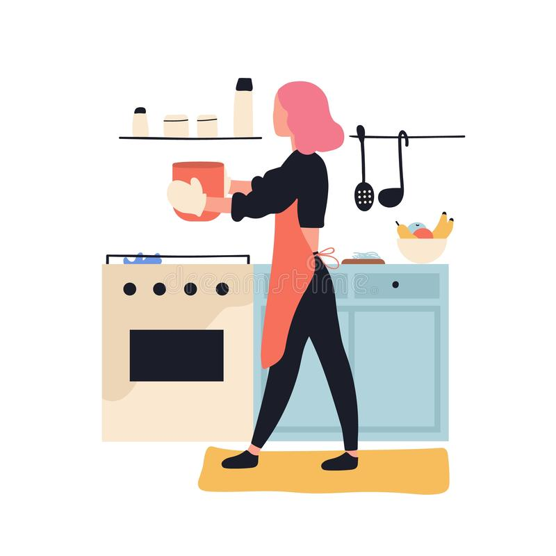 Adorable woman cooking in kitchen. Cute young girl preparing meals at home. Female cartoon character making lunch or. Dinner. Pastime activity or culinary hobby vector illustration