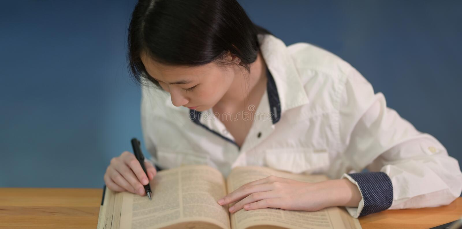Adorable young collage student studying her exam stock image