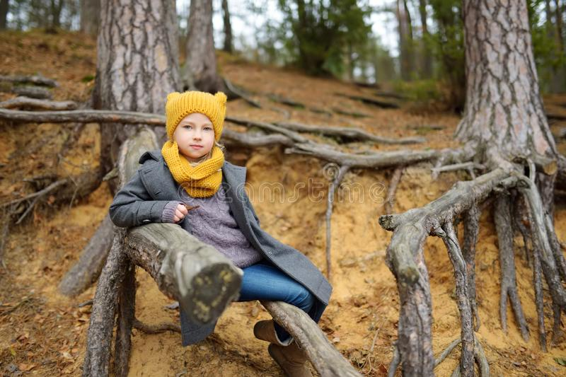 Adorable young girl having fun on beautiful autumn day. Happy child playing in autumn park. Kid exploring fall forest stock photography