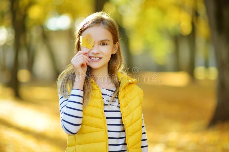 Adorable young girl having fun on beautiful autumn day. Happy child playing in autumn park. Kid gathering yellow fall foliage stock photography