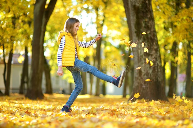 Adorable young girl having fun on beautiful autumn day. Happy child playing in autumn park. Kid gathering yellow fall foliage stock image