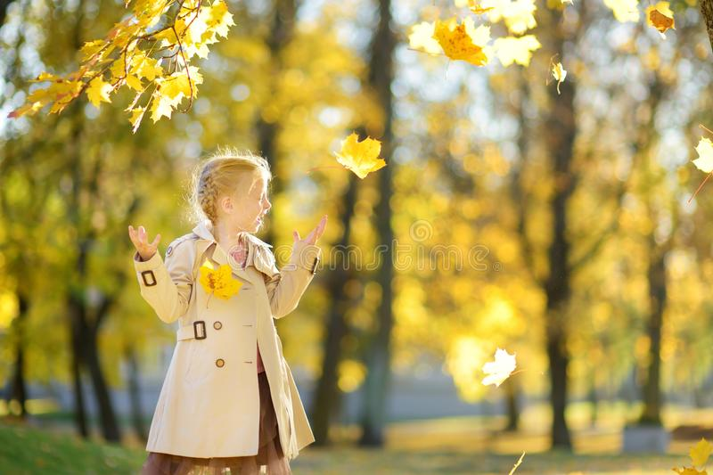 Adorable young girl having fun on beautiful autumn day. Happy child playing in autumn park. Kid gathering yellow fall foliage stock images