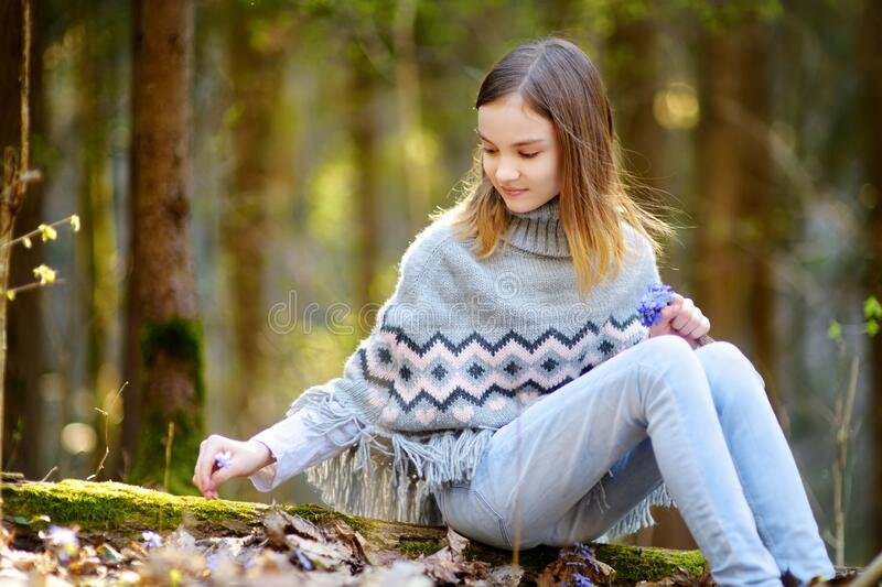 Adorable young girl picking the first flowers of spring in the woods on beautiful sunny spring day. Cute child having fun outdoors. Kid exploring nature royalty free stock photography