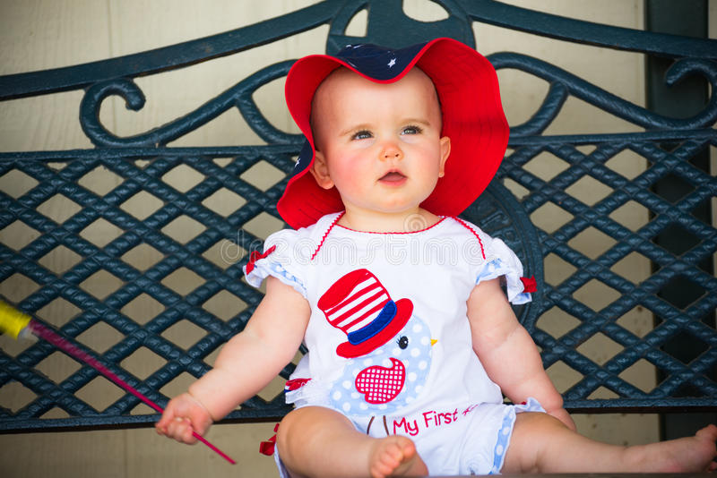 Adorably Fourth of July Baby stock image